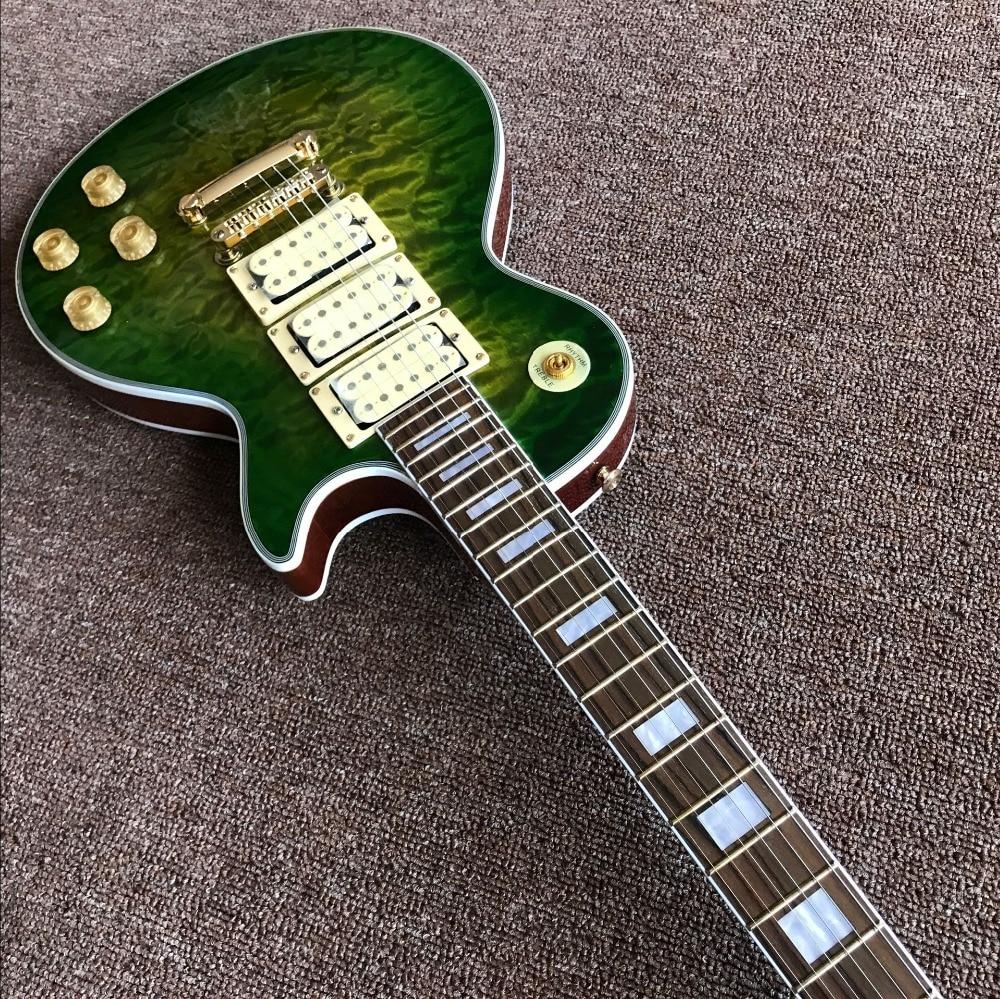 New standard Custom green color flame top electric guitar,3 pickups gitaar,Rosewood fingerboard custom guitarra enlarge