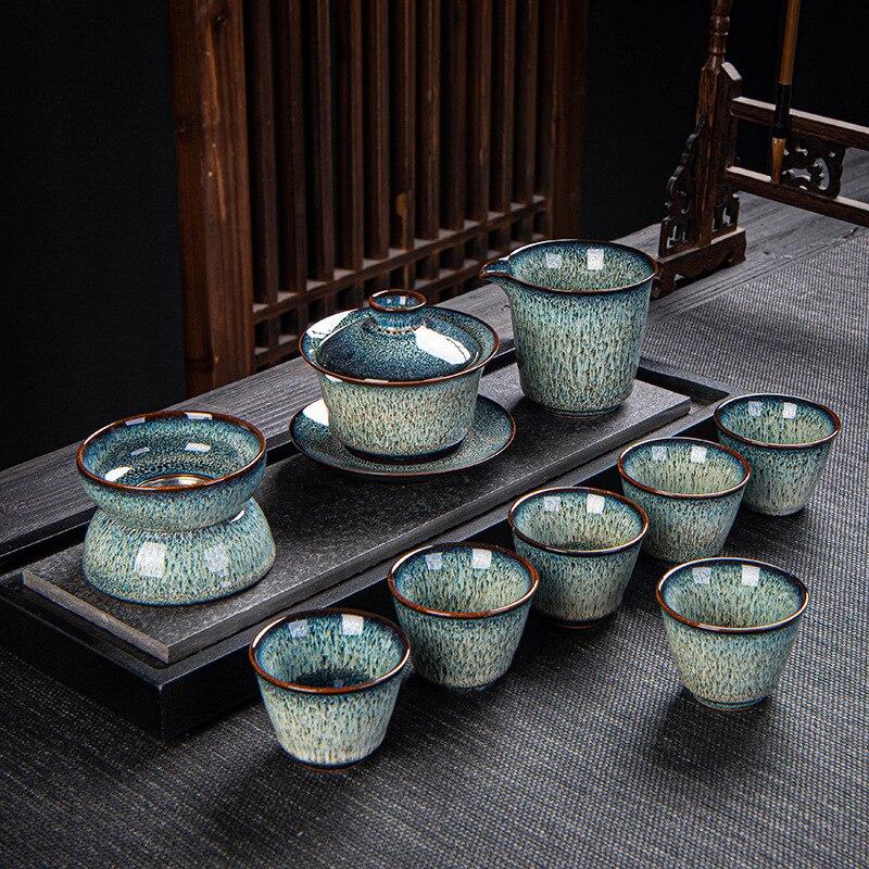 يونيو فرن تغيير 10 قطعة الشاي مجموعة السيراميك الأبيض نحى ثلاثة كاب عاء السيراميك هدية الأعمال