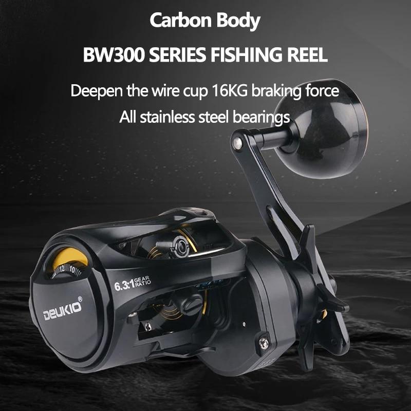 DEUKIO Baitcasting Reel Carbon Shell High Speed 6.3:1 Fishing Reel Dual Brake System 16KG Drag Saltwater Carp Fishing Reel Pesca enlarge