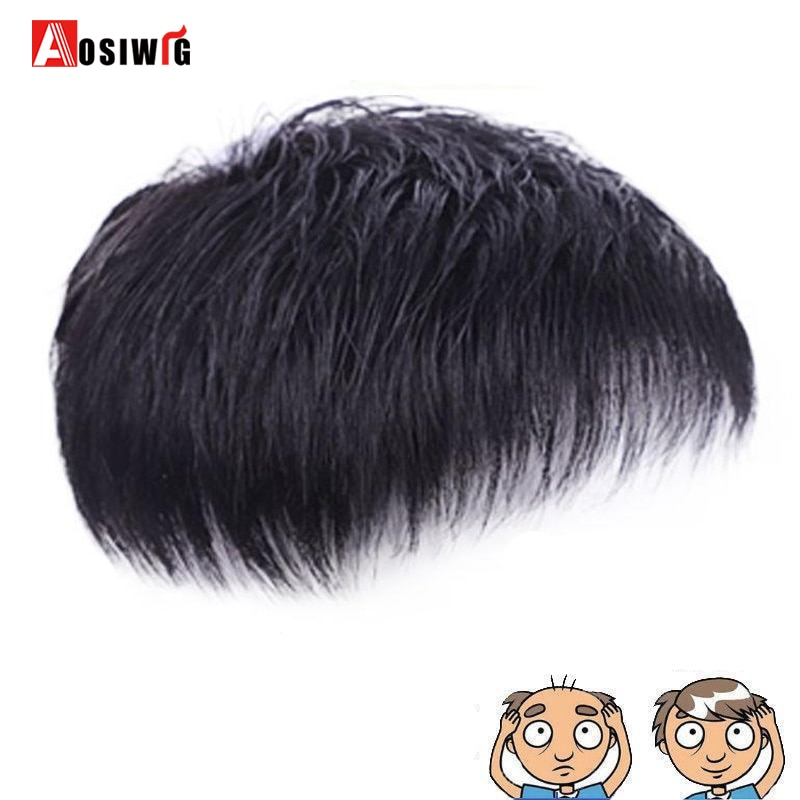 AOSI Short Male's Wig Straight Hair Men Toupee Hairpiece Replacement Synthetic Straight Hair Natural Black Topper Wig