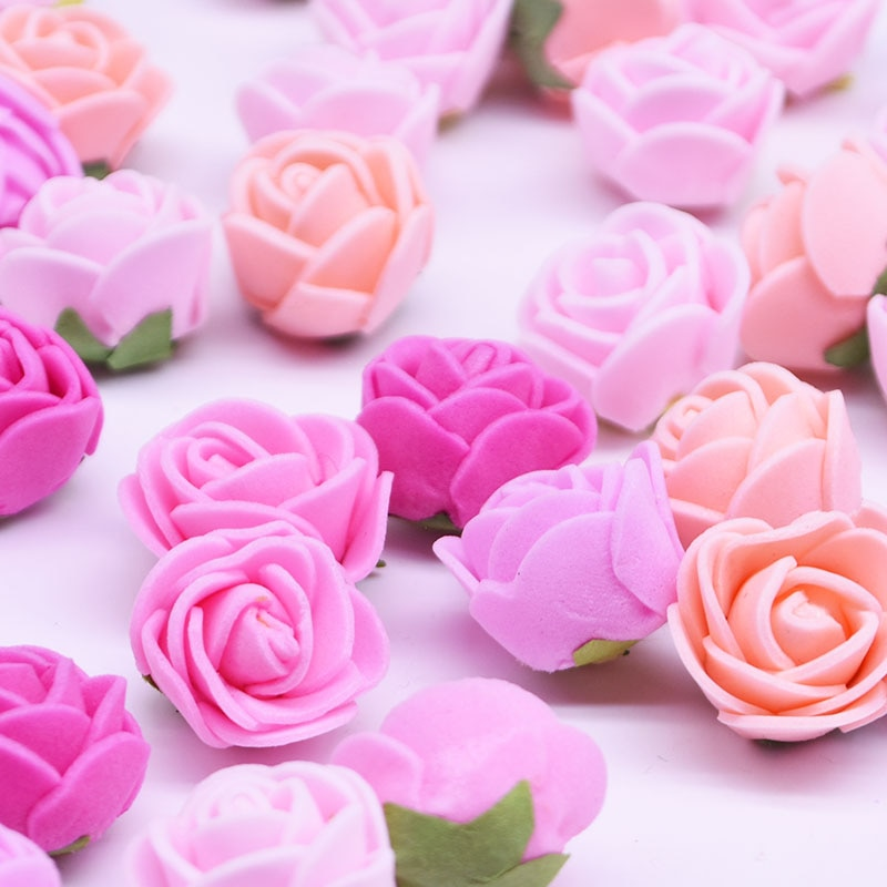 50/100/200 Uds 2cm flor Artificial Mini cabeza PE espuma oso rosa para DIY boda cumpleaños fiesta Deco San Valentín flores falsas