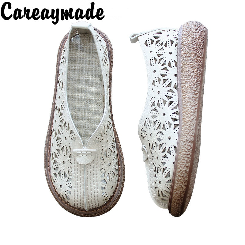 Careaymade-Literature and Art Retro Hollow out Round Head Thick Bottom Shoes,Cotton Hemp Comfortable Casual Shoes