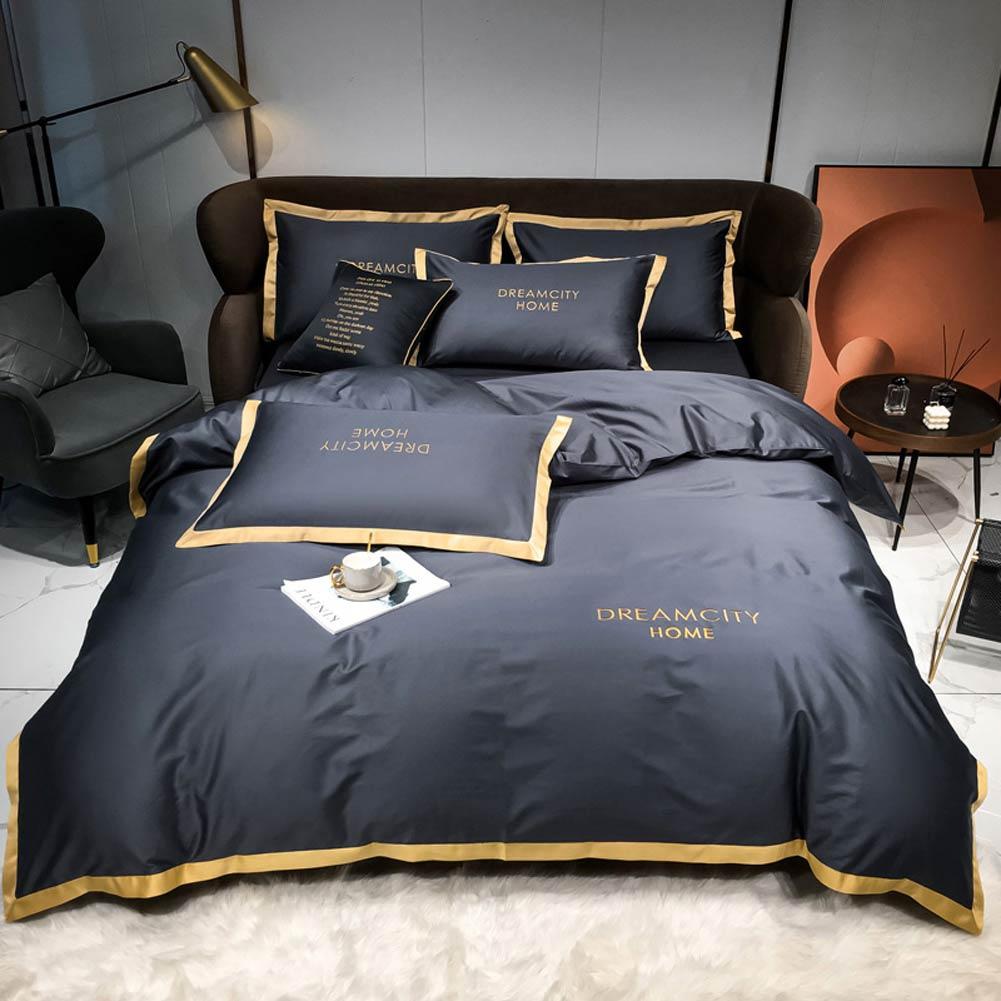 Kotudenphy-طقم بياضات سرير من القطن الصلب المطرز ، طقم أغطية سرير مع ملاءة مسطحة أو غطاء لحاف وغطاء وسادة ، للمنزل أو الفندق