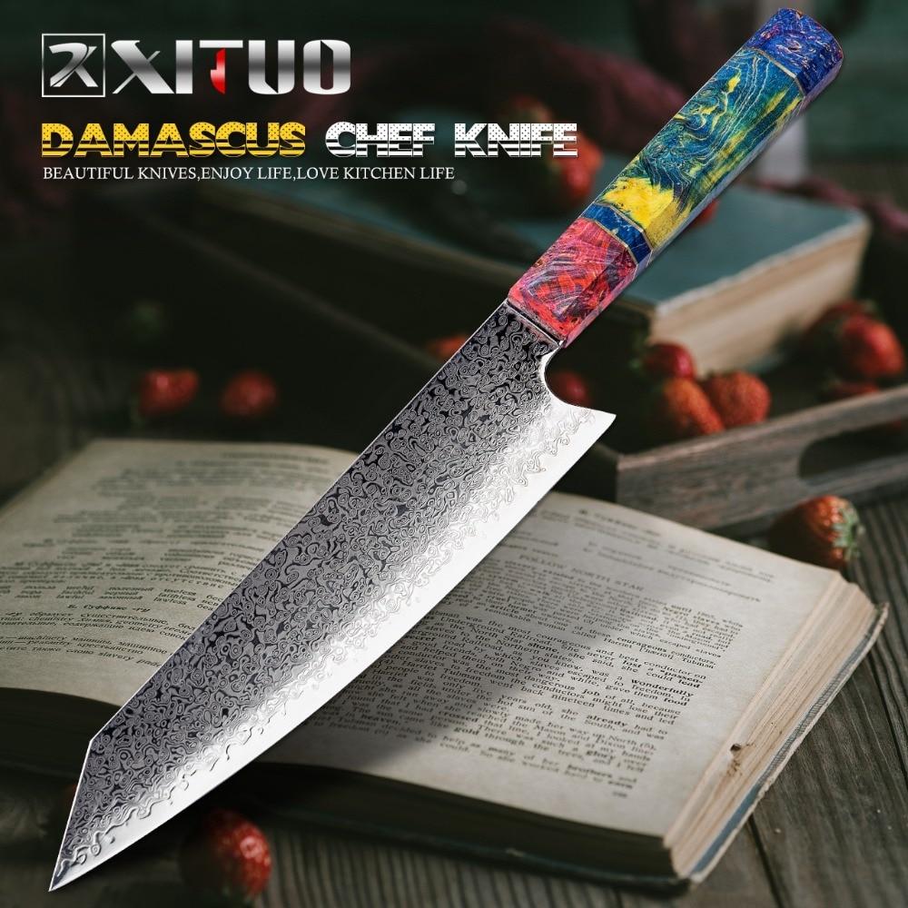 aliexpress - XITUO Chef's Nakiri Knife 67 Layers Japanese Damascus Steel Damascus Chef Knife 8 Inch Damascus Kitchen Knife Solidified Wood HD