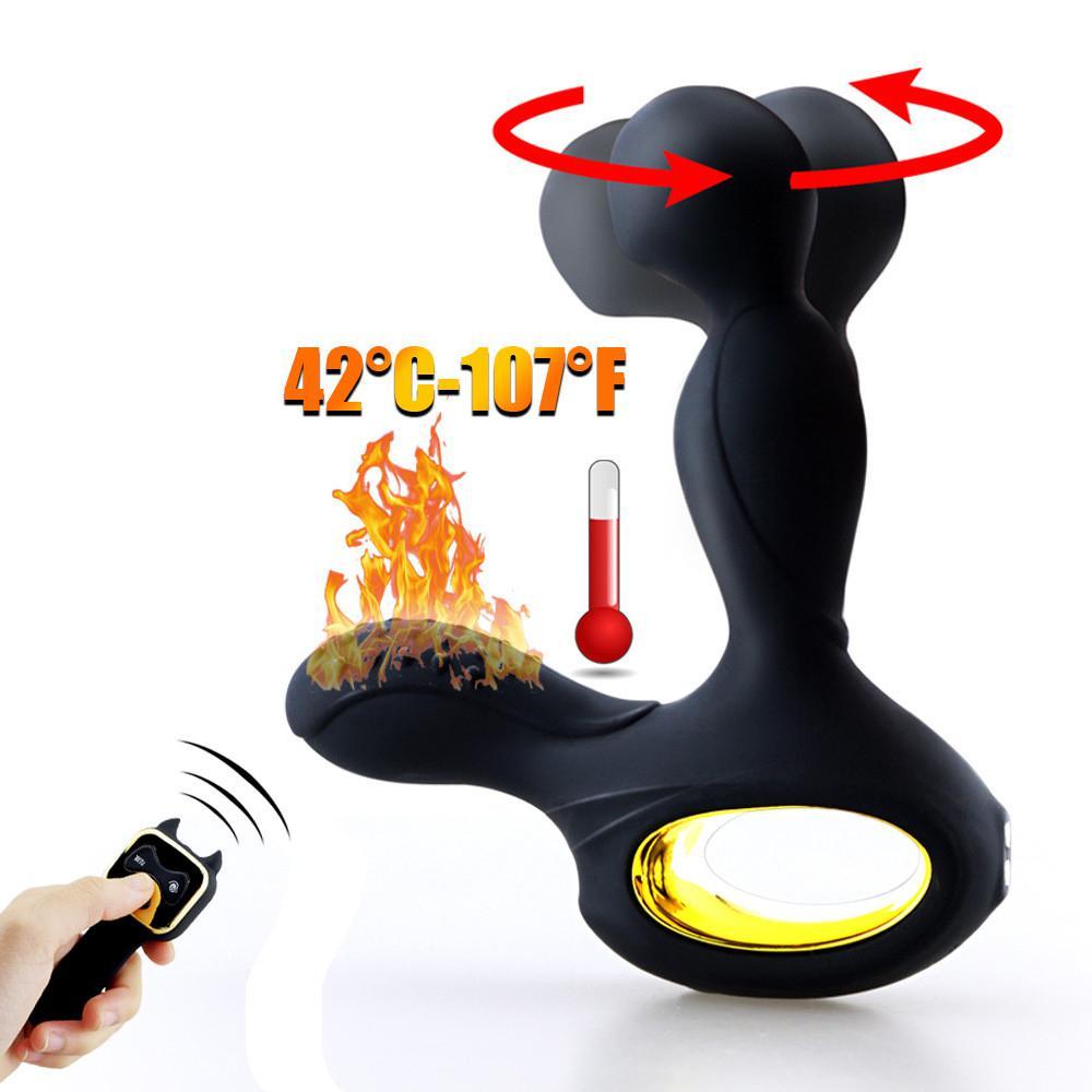 Calentador para masajes de próstata enchufe de acoplamiento 3 modos rotativos 10 modos de vibración de silicona inalámbrica vibrador anal juguetes sexuales masculinos