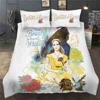 beauty and the beast bedding set disney princess cartoon queen king duvet cover set double bedclothess for child kid girl adults