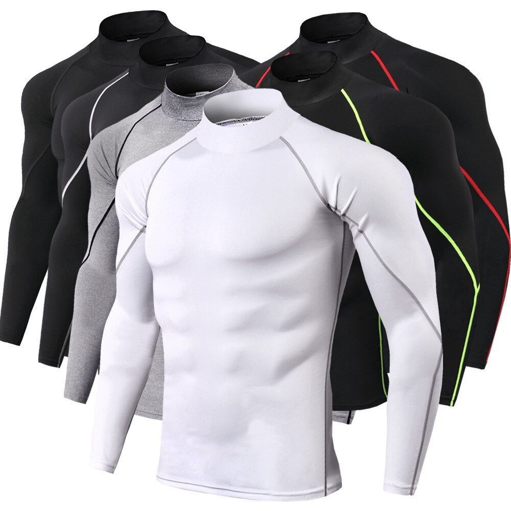 Camiseta deportiva de manga larga para hombre, camisa de cuello alto para...