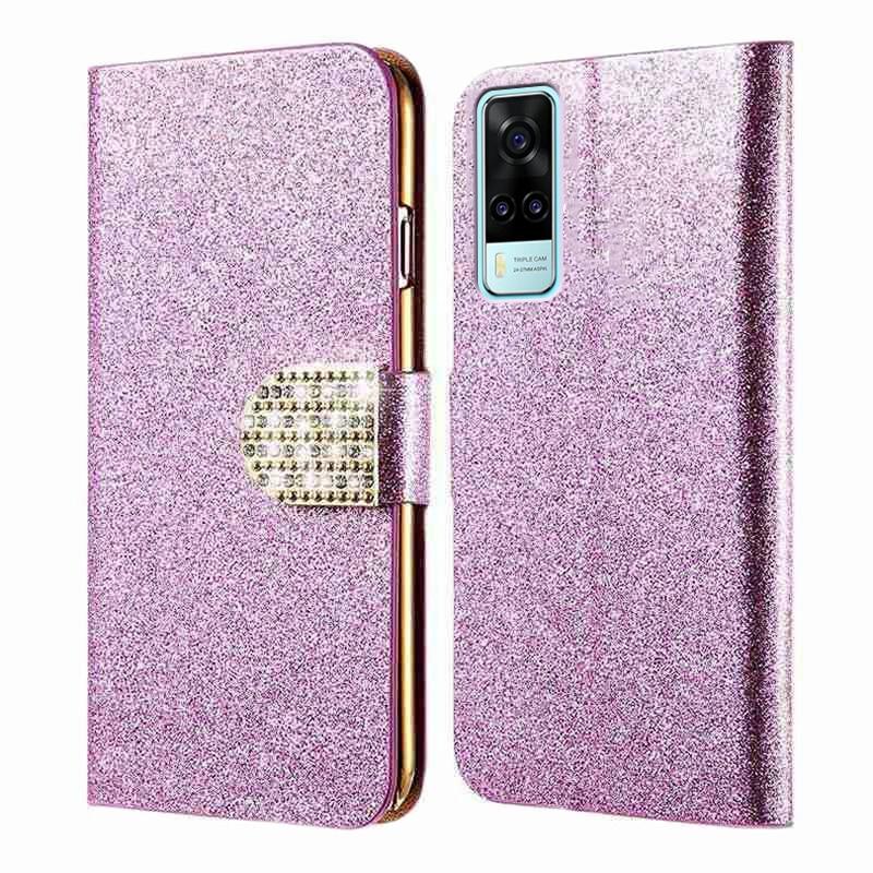 Fashion Women Coque For Vivo Y31 2021 Silicone Caso Leather Glitter Phone Cases For Vivo Y31 2021 Y