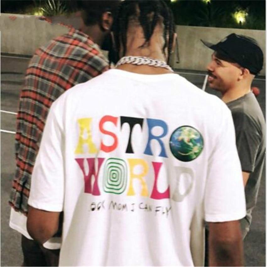 ASTROWORLD WISH YOU WERE HERE Carta Impressão Tees Tops 2019 Nova Moda Hip Hop T Shirt Homens Mulheres Travis Scotts Harajuku Camisetas