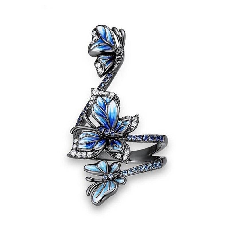 Изысканная мода три Синие Бабочки Цветы Кольцо для женщин вечерние украшения на свадьбу, годовщину