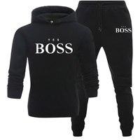 Tracksuit Men Fashion Hoodies Men Suits Brand Yes Boss Sets Men Sweatshirts+Sweatpants Autumn Winter Fleece Hooded Pullover