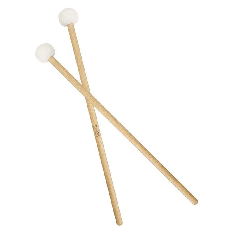 2 Pair 15 Inch Wood Handle Mallets Timpani Stick Multi-Purpose Felt Mallet Soft, Good Percussion Accessories enlarge