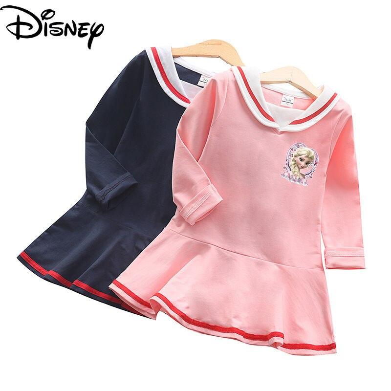 Disney Fashion Spring New 2021 Western Style Comfortable Cotton Long-sleeved Princess Dress Cute Cartoon Childrens