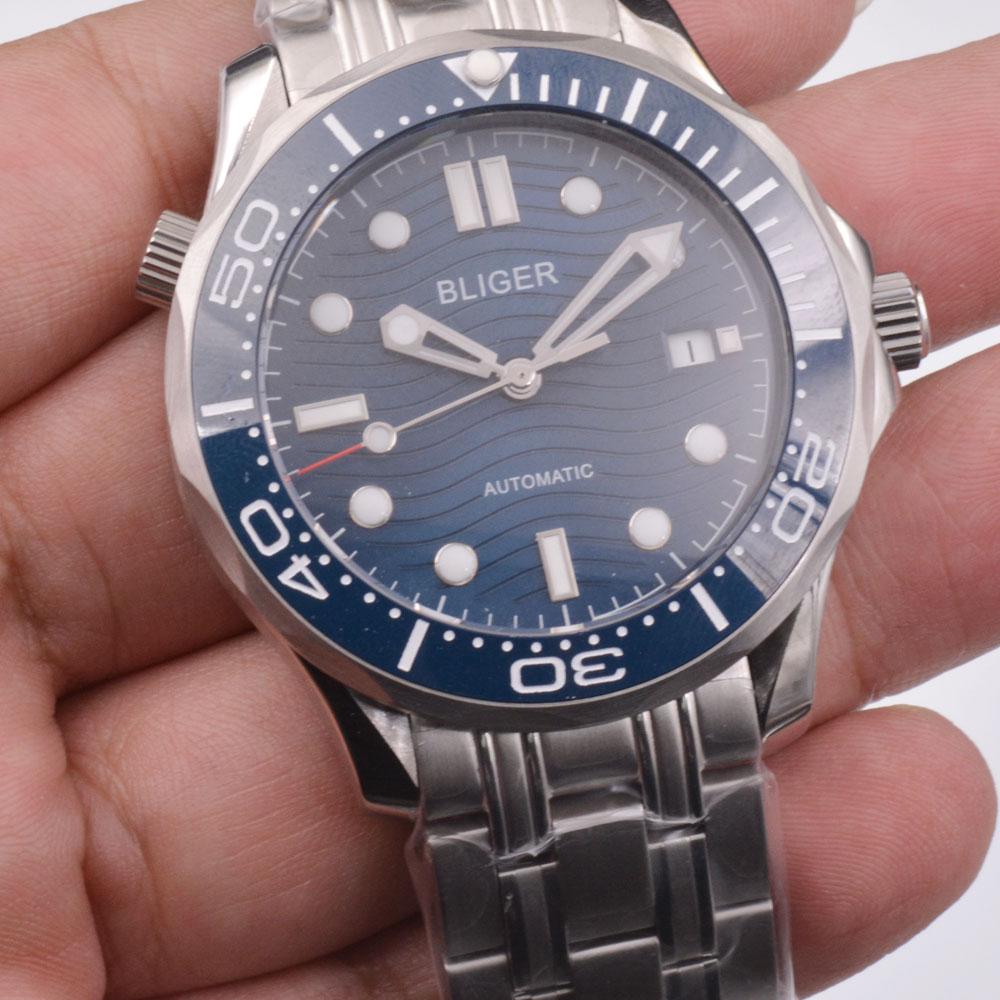 Bliger 41mm Blue dial date Luminous automatic movement men's fashion casual   mechanical watch
