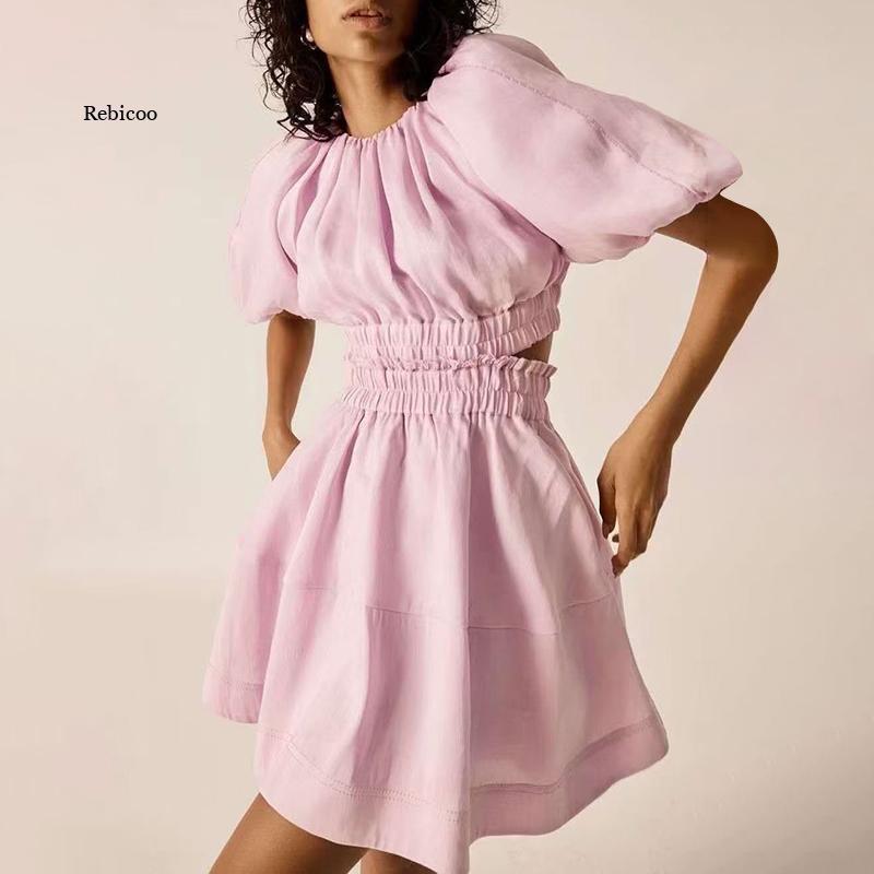 الوردي الجوف خارج فستان للنساء س الرقبة نفخة قصيرة الأكمام مرونة عالية الخصر Ruched سليم عادية فساتين صغيرة الإناث المد