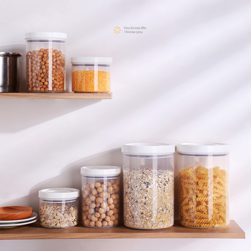 Герметичная банка с крышкой, бытовая банка для хранения риса, пищевой прозрачный контейнер для хранения орехов, кухонный органайзер и конте...