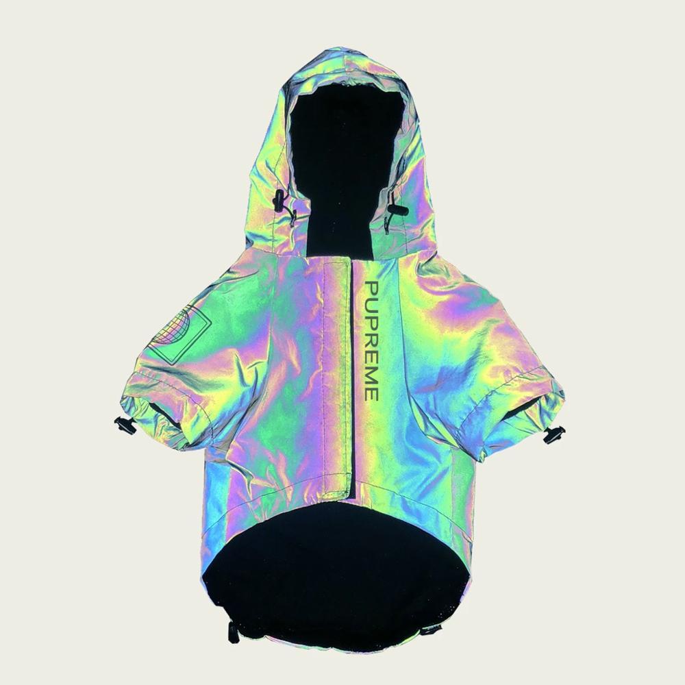Moda única reflexiva cão jaqueta para pequeno médio grande animais de estimação à prova dwaterproof água roupas casaco cão luz flash
