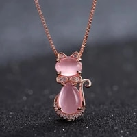 natural pink chalcedony hand carved cat 925 silver inlaid pendant fashion boutique jewelry female agate necklace giftaccessories