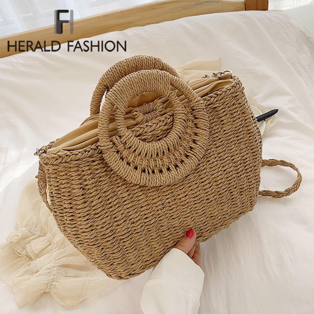 Bolsa de paja para playa de verano 2020 para mujer, bolso cruzado redondo hecho a mano, bolso de rafia circular de ratán, bolsos de canasta tejidos casuales bohemios