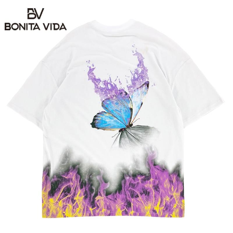 Fuego llama estampado de mariposa de algodón ropa informal estilo Hip Hop camisetas de hombres Harajuku Hipster Punk Rock Casual camisetas Tops