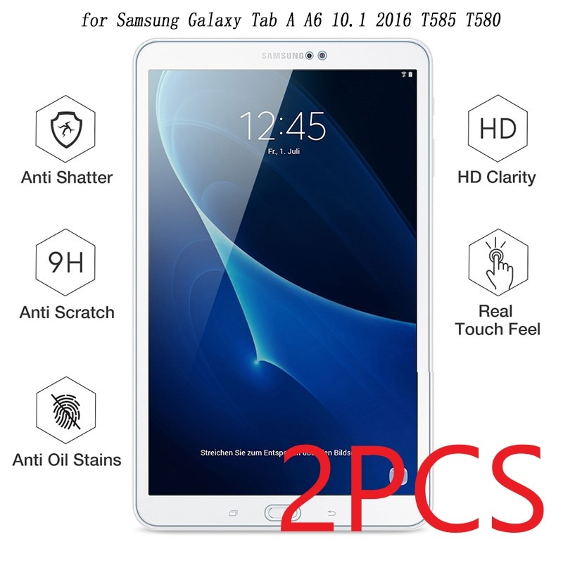 2PCS Tempered Glass For SM-T580 Screen Protector for Samsung Galaxy Tab A A6 10.1