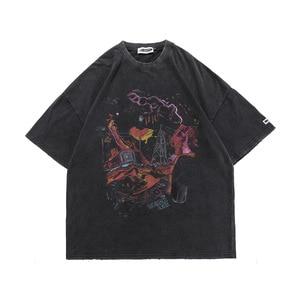 Men T Shirt Retro Streetwear Washed Harajuku Hip Hop Anime Tshirt New Oversize 100% Cotton Tops Tees Male Couple T-Shirt