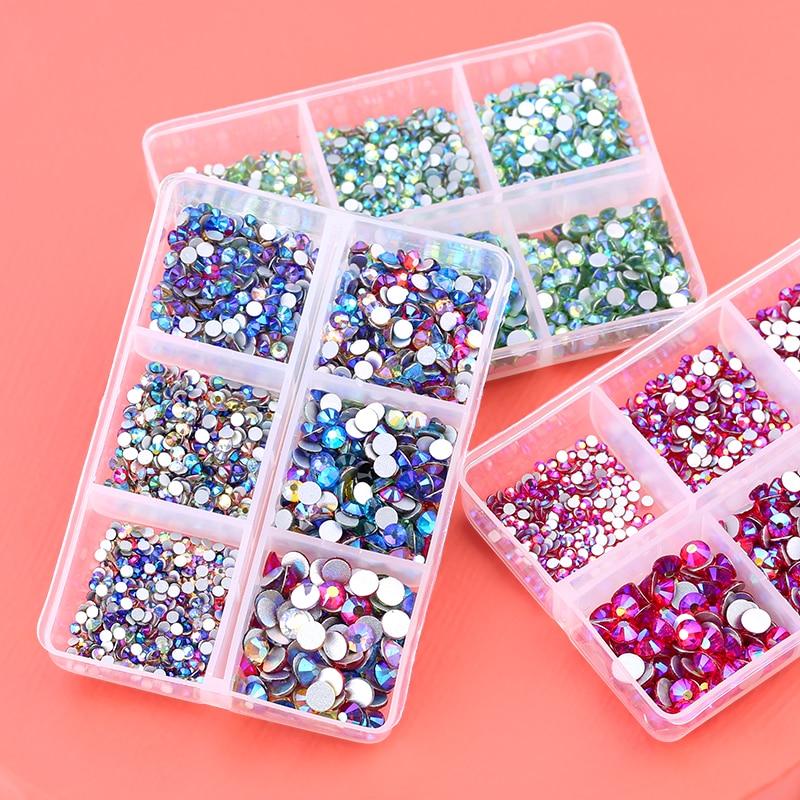 Стекло с украшением в виде кристаллов с разным размером не требуют горячей фиксации стразы комплект Пришивные Кристаллы Стразы для ногтей ...