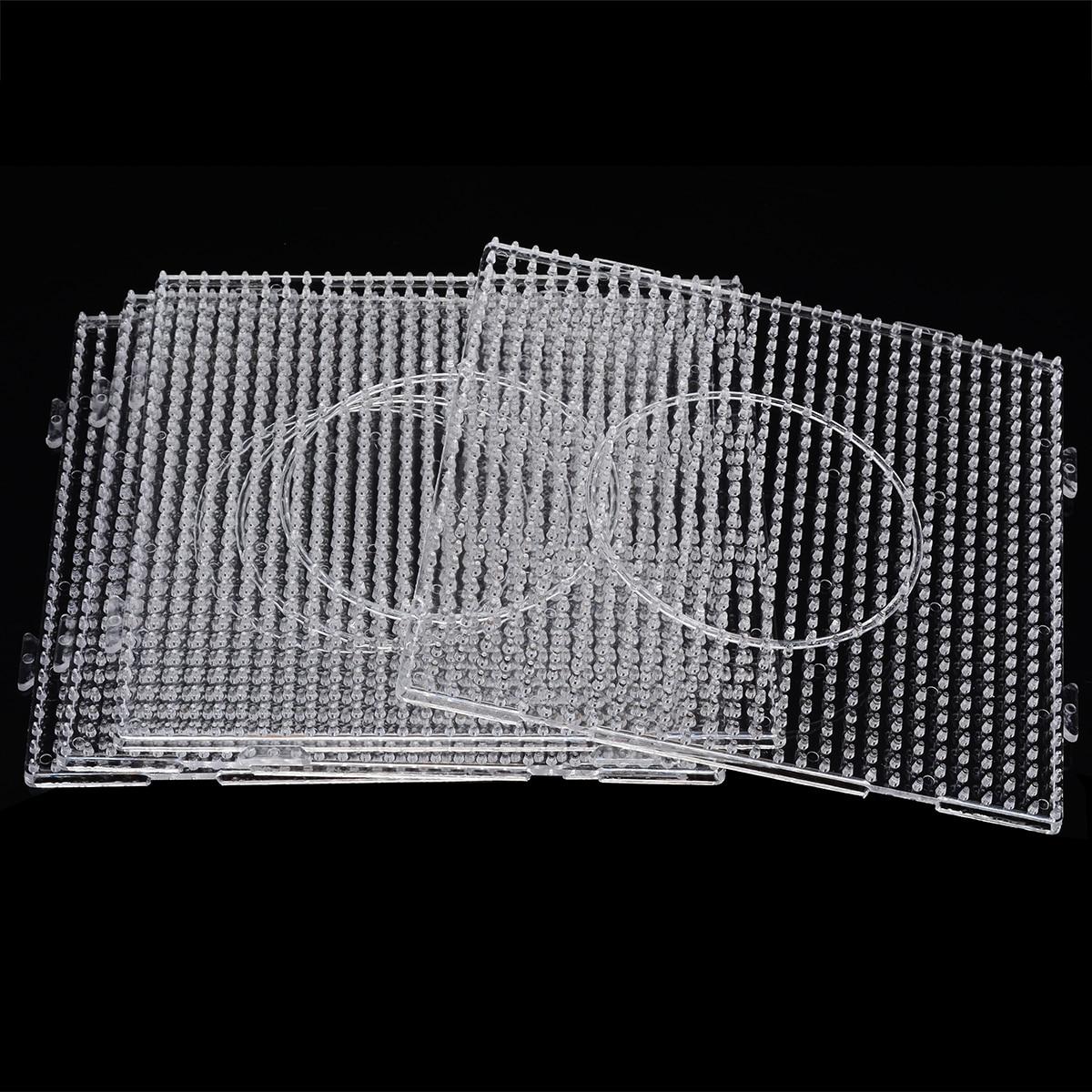 4 unids/set práctico PE claro cuadrado grandes tabletes grano cuadrado tablero de tablero educativo rompecabezas para Hama Fuse Bead
