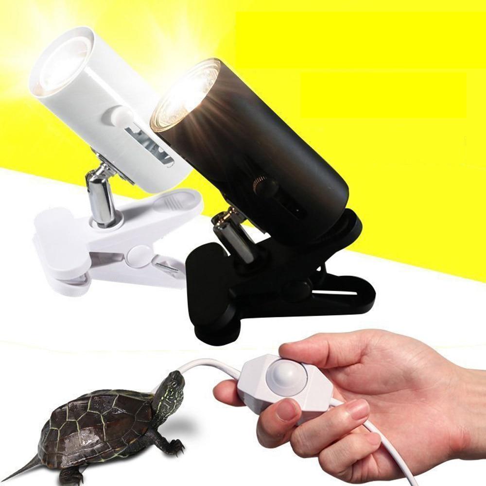 Kit de lámpara para reptiles UVA + UVB 3,0 con soporte de luces de cerámica con Clip, conjunto de lámparas de calentamiento UV para base de tortuga, iluminación de lagartos de tortuga