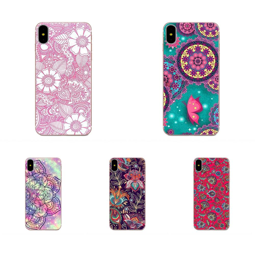 Suave patrón Floral flor Mandala Henna para Samsung Galaxy Note 5 8 9 S3 S4 S5 S6 S7 S8 S9 S10 5G mini Plus Lite