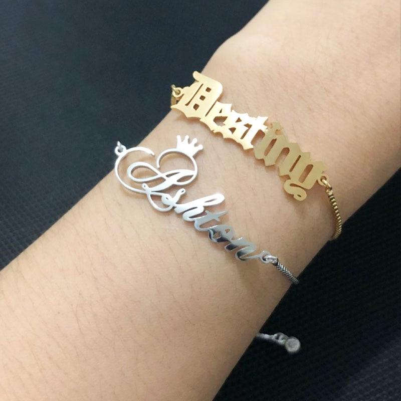Personalizado nome personalizado pulseira pulseiras presente para crianças amor de aço inoxidável cor do ouro feito à mão ajustado nome pulseira signur