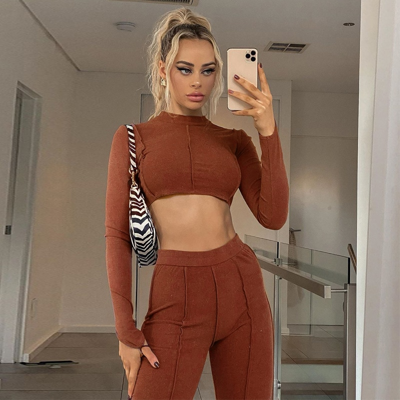 Sexy Backless Bandage Chain Two Piece Set Women Elegant Knit Rib Long Sleeve Cop Top with Wide Leg P