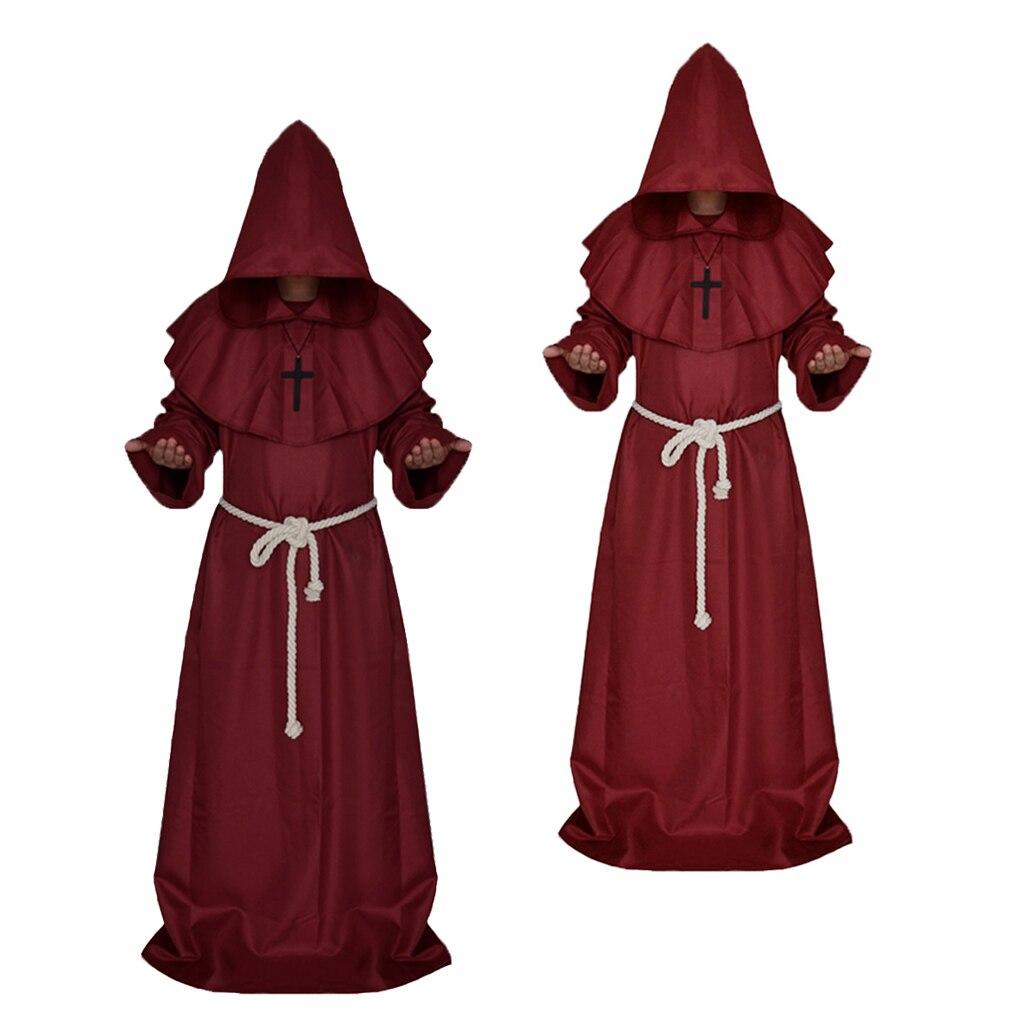 2 unids/set monje estume sacerdote Medieval vestido de lujo con capucha vestido de clero de Halloween religioso M L
