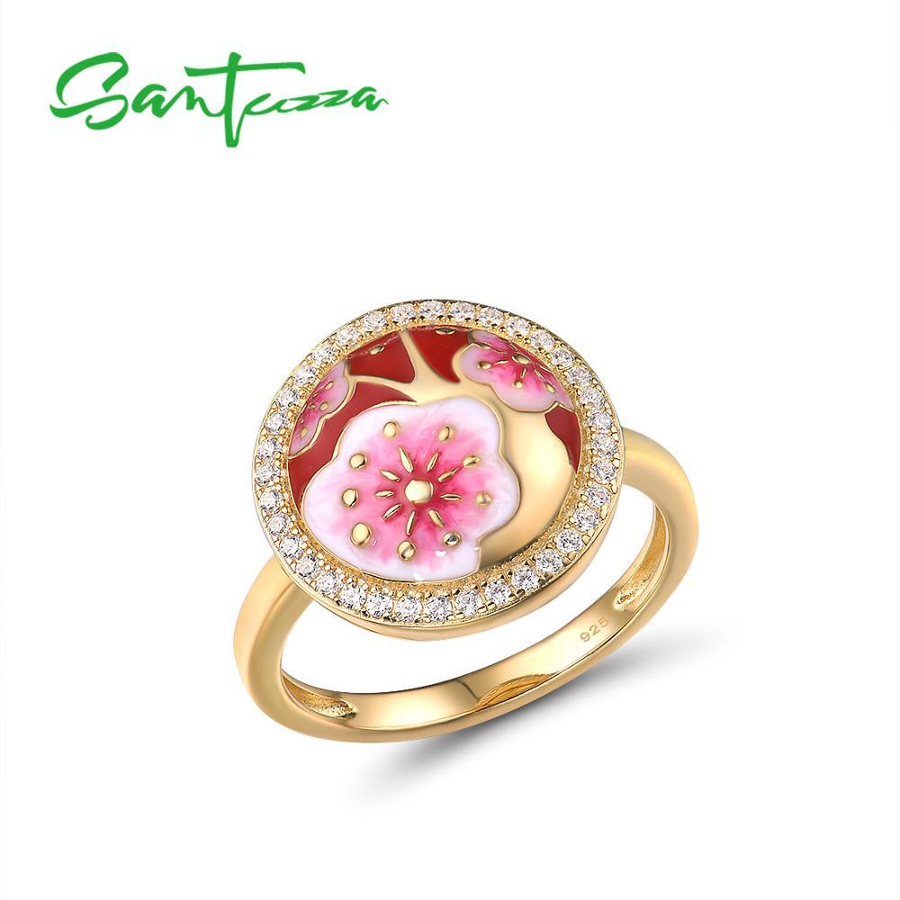 SANTUZZA Silver Rings For Women Genuine 925 Sterling Silver Delicate Cherry blossoms Flower Trendy Fine Jewelry Handmade Enamel