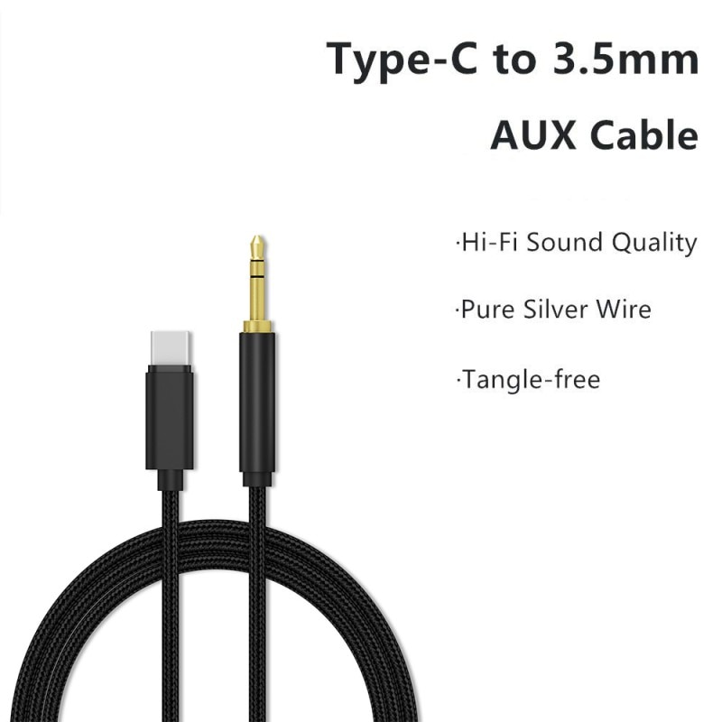Audio Video Adapter Data Cable Type-C Male To 3.5mm Male Lightweight Portable Universal Phone Converter Connector Cord