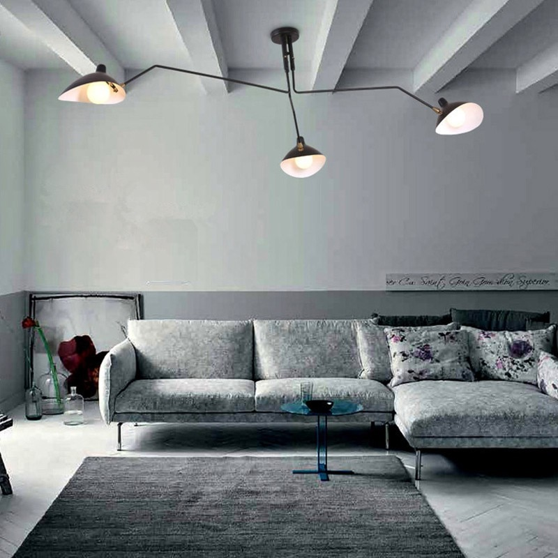 Nordic longo braço pato boca forma luz de teto para sala estar 3 soquetes lâmpada