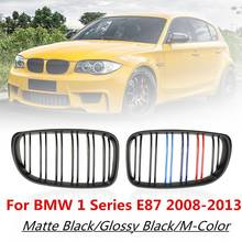 Pair ABS Double Line 2 Slat M-Color Front Bumper Kidney Racing Grilles for BMW 1 Series E81 E82 E87 E88 Facelifted LCI 2008-2013