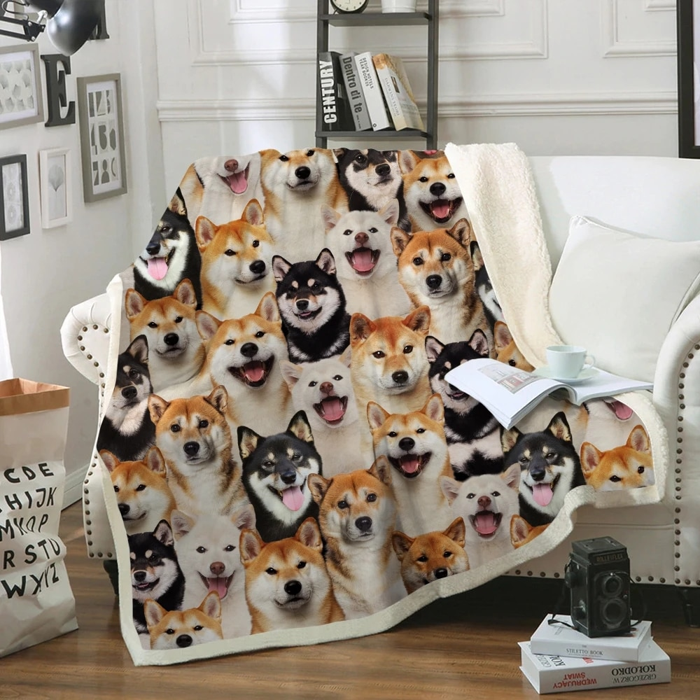 3D Blanket You Will Have A Bunch Of Shiba Inus Winter Arctic Velvet Bedding/Sofa For Adult/Child DIY Made