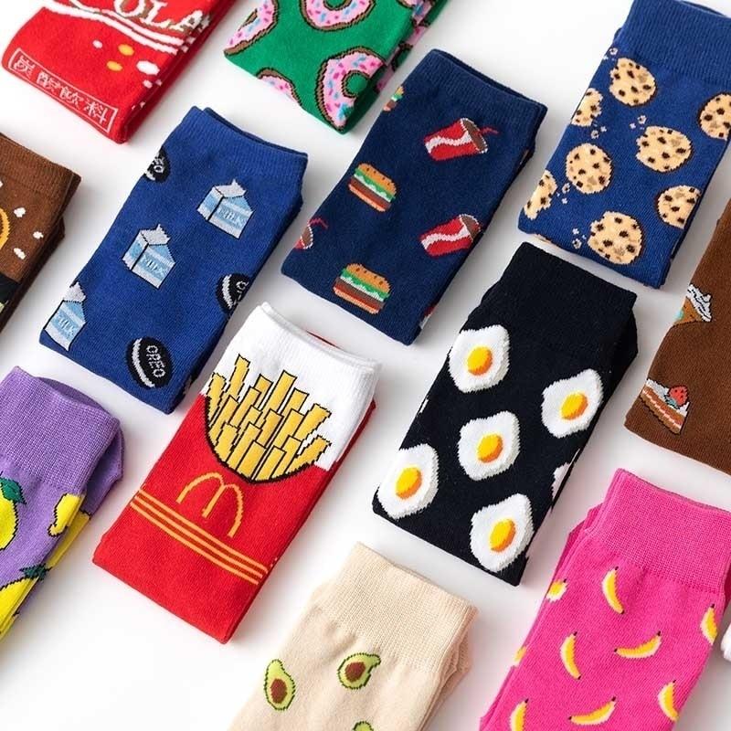 Women socks funny cute cartoon fruits banana avocado lemon egg cookie donuts food happy jJapanese harajuku skateboard socks