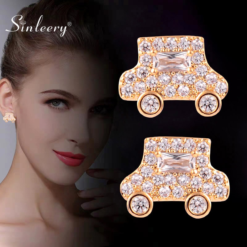 SINLEERY Chic pequeños pendientes de tachuela de coche amarillo oro color plateado claro Zircon pequeños pendientes de cristal para mujer joyería ES150 SSH