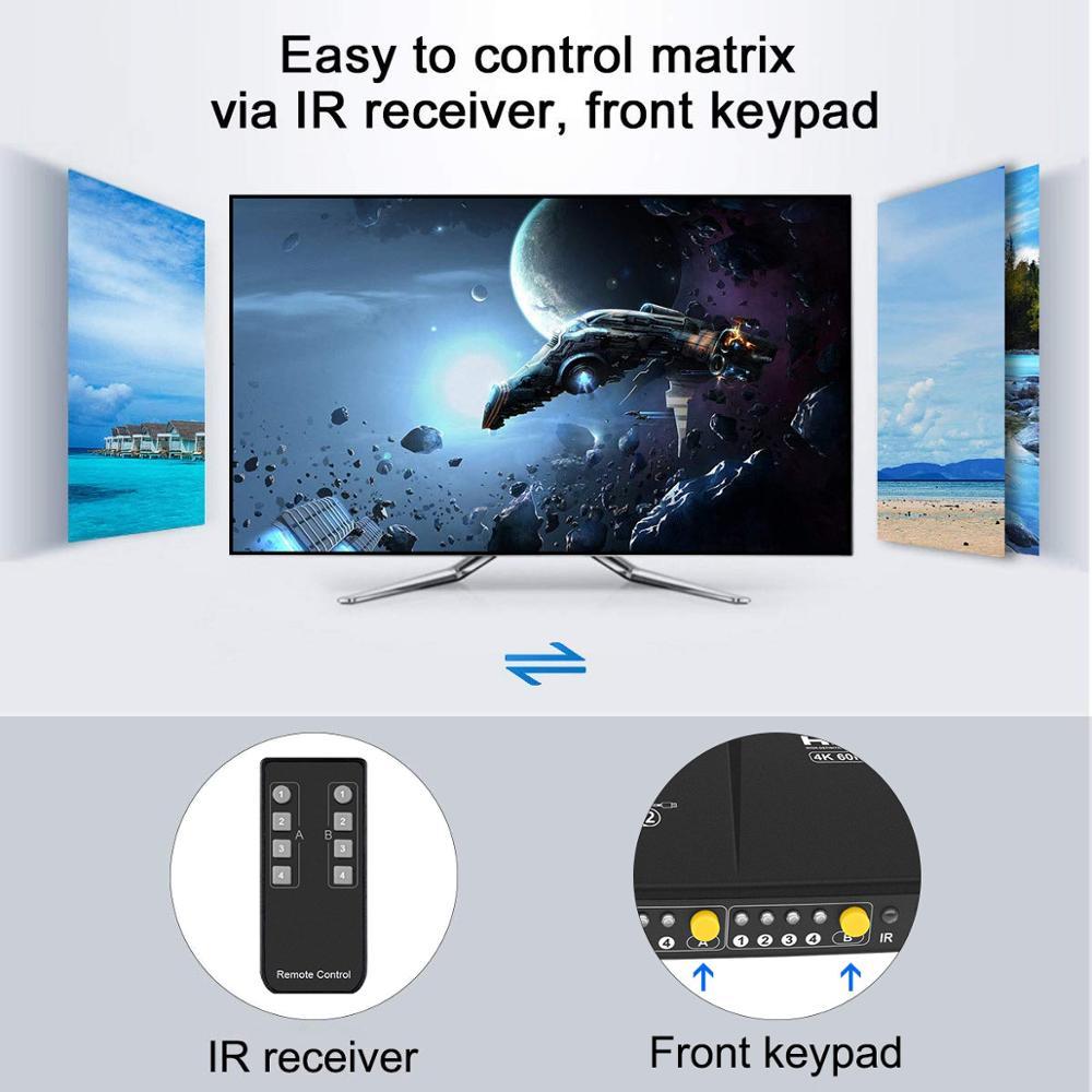 HDMI Matrix 4x2 HDMI Switcher Splitter 4 Ports Input and 2 Ports Output Matrix 4 ports Dual Monitor Up to 4Kx2K@60Hz HDCP2.2 enlarge