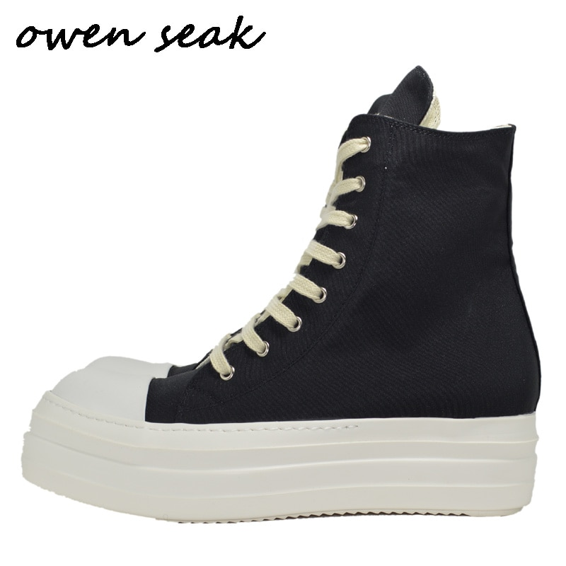 Owen Seak Men Canvas Shoes Luxury Platform Boots Lace Up Sneakers Casual Women Height Increasing Zip High-TOP Flats Black Shoes