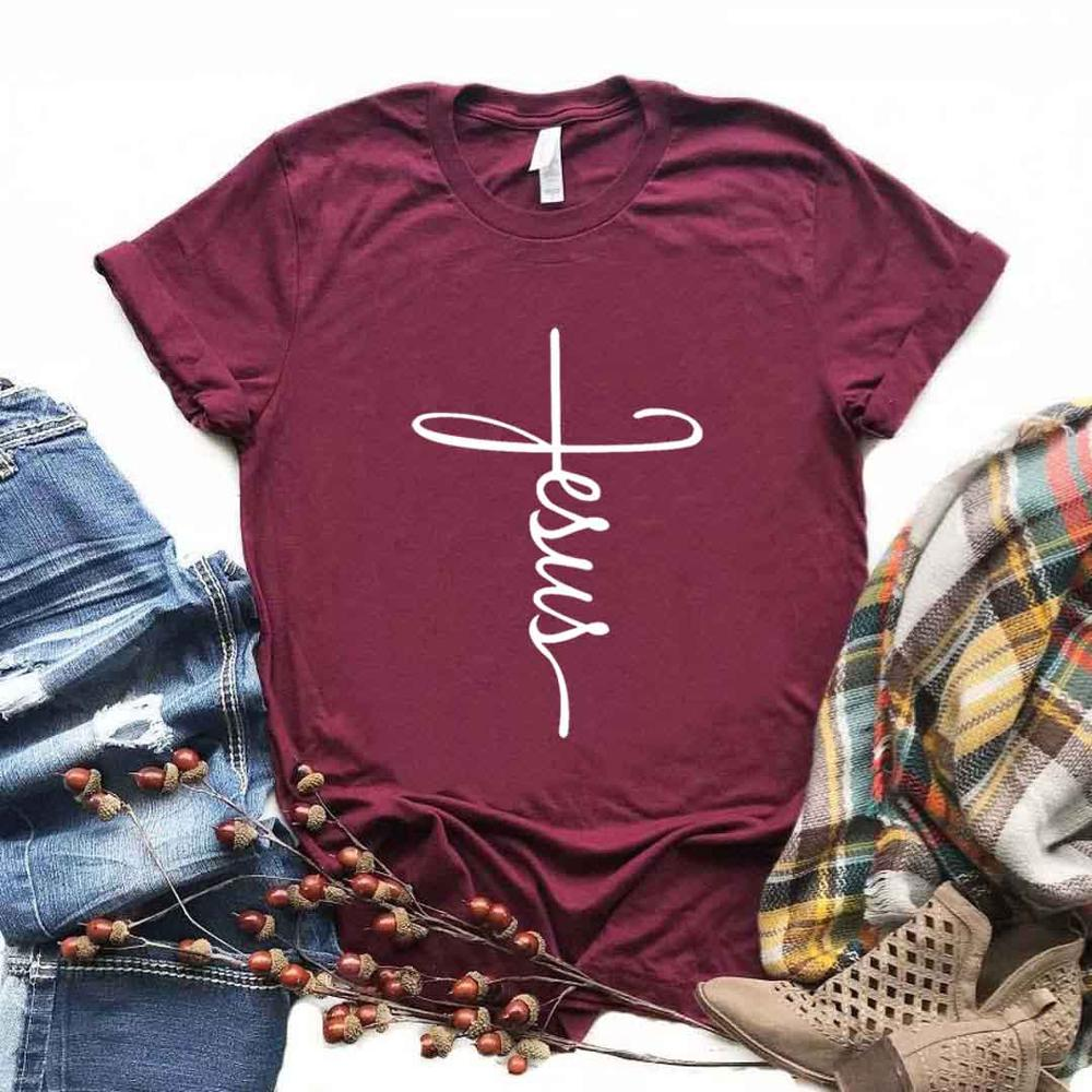 Jesús cruz cristiana imprimir mujeres camisetas algodón Casual divertida camiseta para dama Yong Girl camiseta superior Hipster 6 colores NA-905