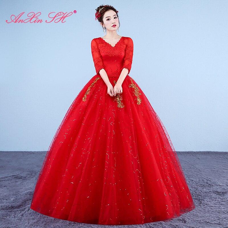 AnXin SH-فستان زفاف من الدانتيل الأحمر ، نمط عتيق ، زهور ، ياقة على شكل v ، تركيا ، ثوب الكرة ، زهرة ذهبية ، أبيض