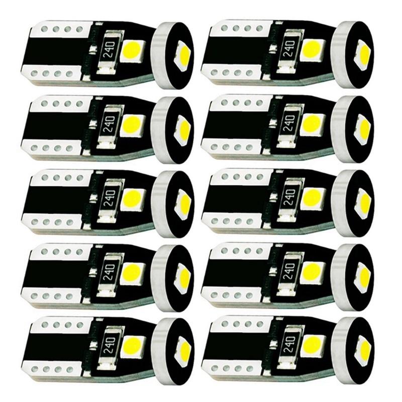 T10 LED Luz de coche 3 SMD 3030 lámpara de marcador W5W 192 501 3SMD parte trasera cuña de bombilla Auto aparcamiento Domo luz 10 Uds