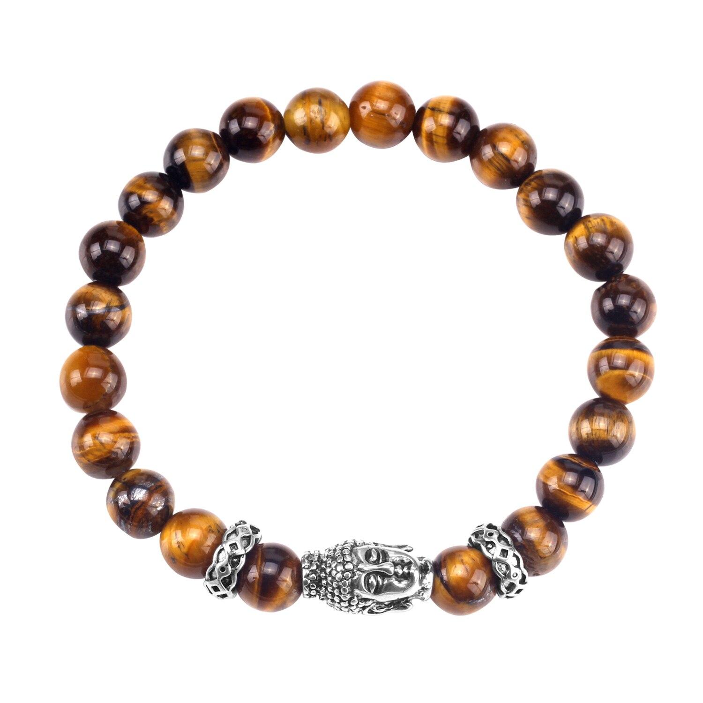 Luxukisskids contas pulseira cabeça de buda pedra natural para homem/mulher homme jóias pulsera tiger eye pedra contas pulseira