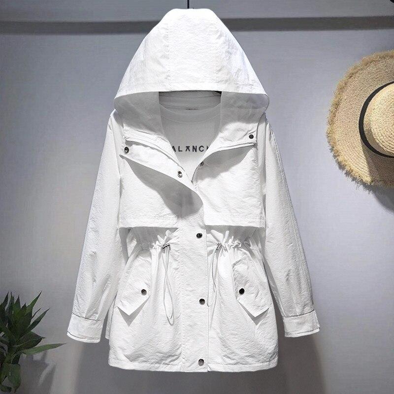 2020 new Spring Autumn Trench Coat Korean Short Women's Hooded loose waist white Tooling Windbreaker Female Tops B280