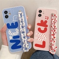 wristband phone case for iphone12pro 11pro 7 8plus xs xr xs max se 11promax 11 12 12mini letter chain phone case with strap