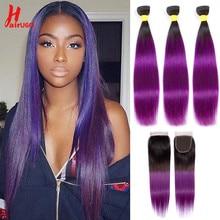 Peruvian Hair Bundles With Closure 1B/Purple Straight Bundles With Closure Remy Human Hair Bundles With Lace Closure HairUGo