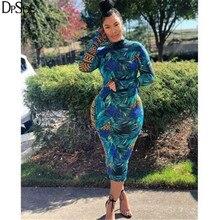 DPSDE Multicolor Print Women Long Elegant Dress High Collar Casual Bodycon Dress Autumn Streetwear Skinny New 2020 Bandage Dress